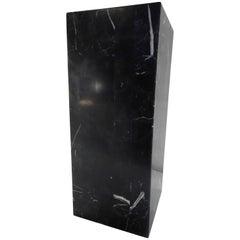 Short Black Marble Square Pedestal