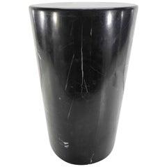 Short Circular Black Marble Display Pedestal