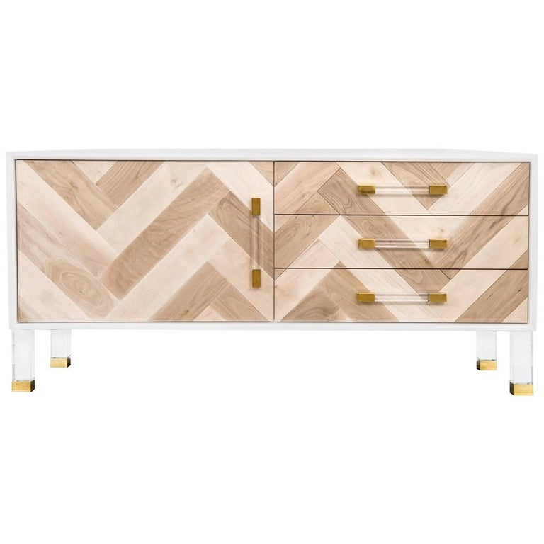 Modern Style Credenza Lucite & Brass Accents with Bleached Walnut Door