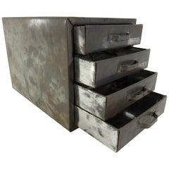 Midcentury Small Industrial Metal Box with Drawers