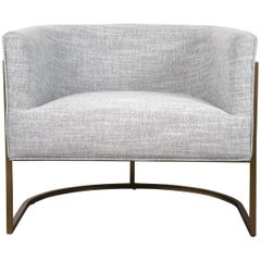 Mid-Century Modern Style Curved Accent Chair in Grey Linen & Brushed Brass Frame