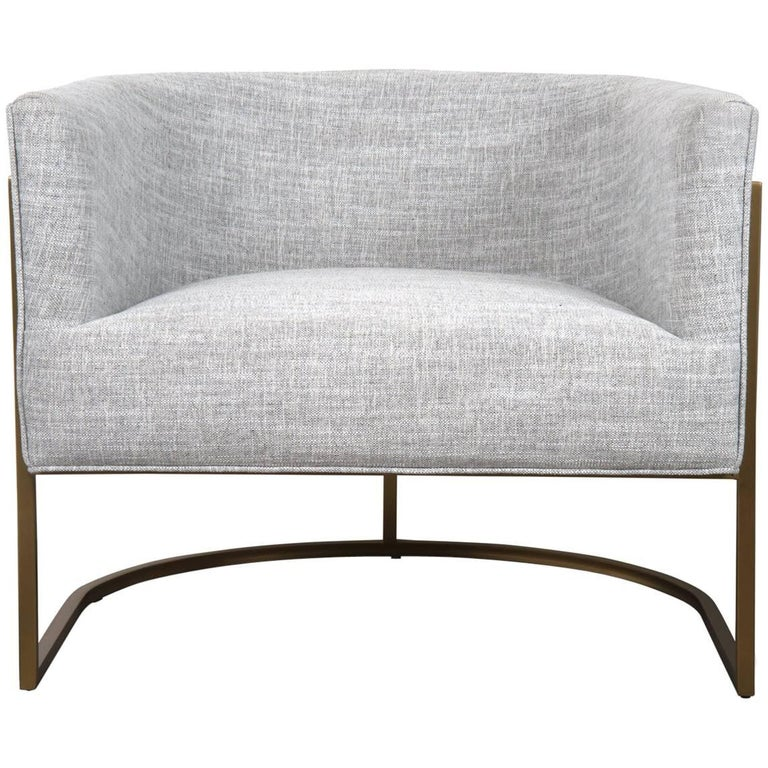 Mid-Century Modern Style Curved Accent Chair in Grey Linen & Brushed Brass Frame For Sale