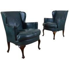 Pair of English Oak and Green Leather Upholstered Wingchairs