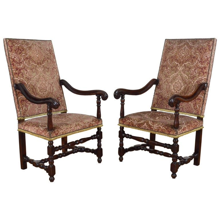 Italian Louis XIII Period Pair of Walnut and Upholstered Armchairs, Early 18th C