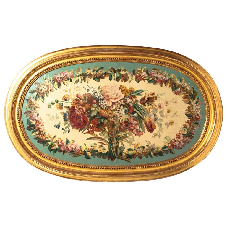 19th Century French Aubusson Floral Tapestry Cartoon in Gilded Frame