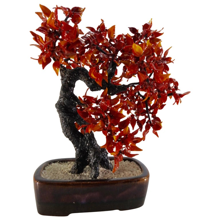 Vintage Chinese Polished Glass Leaves on Bonsai Tree