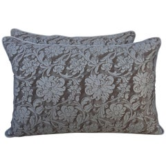 Pair of Cimarosa Patterned Greyish Brown and Silvery Gold Fortuny Pillows