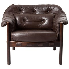 Arne Norell Lounge Chair in Teak Wood and Brown Leather