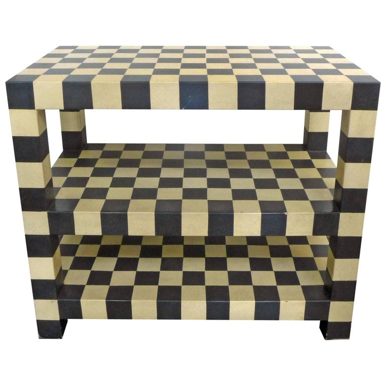 Two-Tiered Checkerboard Lacquered Table For Sale