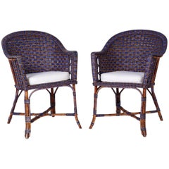 Pair of Original Paint Wicker and Rattan Chairs