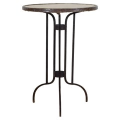 French Art Deco Period Wrought Iron and Marble-Top Bistro Table, circa 1930