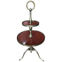 Italian Two-Tiered Table on Brass Tri-Pod Base