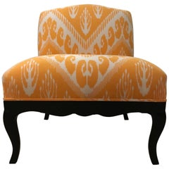 Hollywood Regency Slipper Chair in Michelle Nussbaumer Ikat Fabric