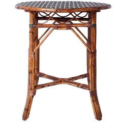 Round Original Paint Rattan Table