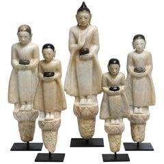 Set of Alabaster Buddha and Disciples TD 1043