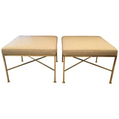 Pair of Paul McCobb X-Base Brass Stools