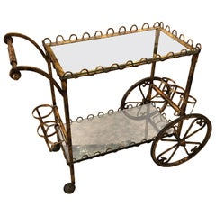 Hollywood Regency Gilt Iron Bar Cart