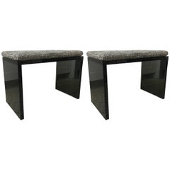 Sleek Pair of Grey Smoked Lucite Benches
