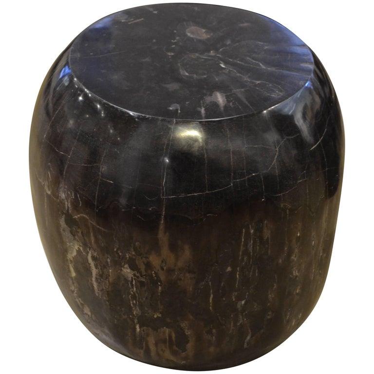 Andrianna Shamaris Drum Shape Petrified Wood Side Table For Sale