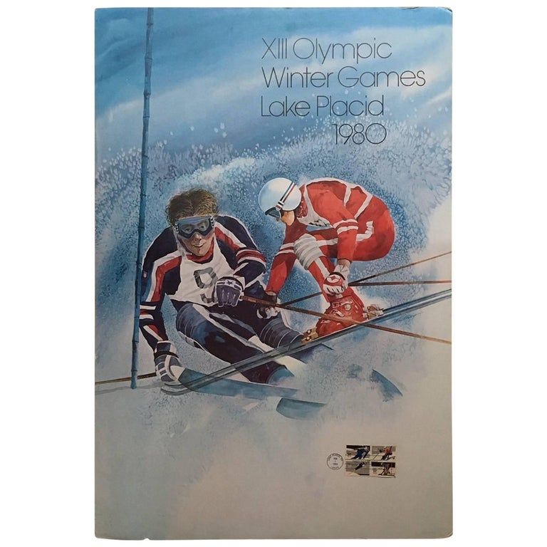 Original Skiing Poster from the 1980 Winter Olympics in Lake Placid For Sale