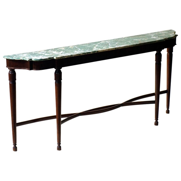 Paolo Buffa Carved Wood and Green Marble Italian Neoclassical Console, 1940s