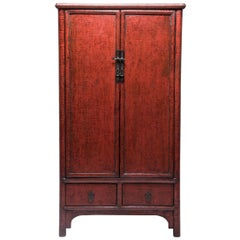 19th Century Chinese Crimson Crackle Lacquered Cabinet