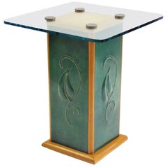 1940s Edward Stoll Cerused Oak, Glass and Leatherette Side Table