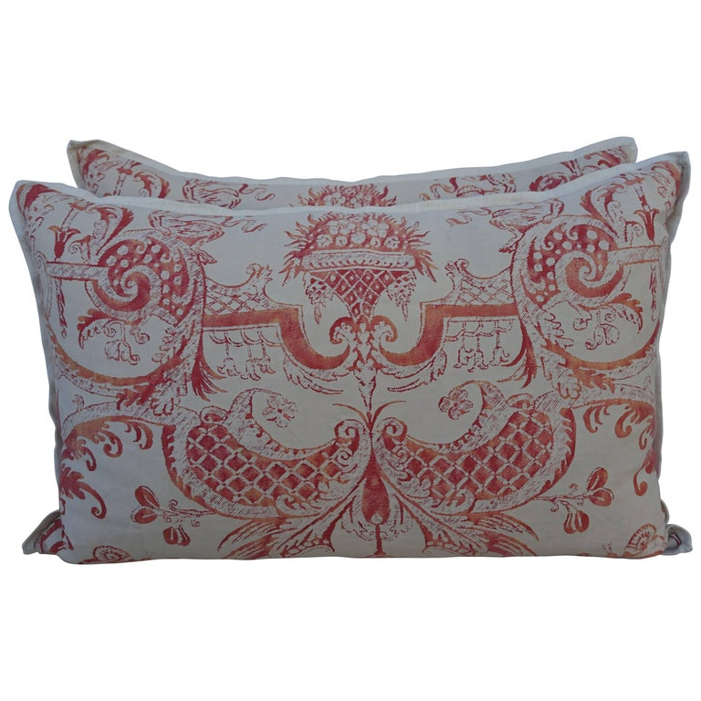 Pair of Manzianno Patterned Fortuny Pillows For Sale