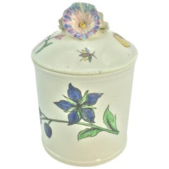 Chantilly Pomade Pot with Rare Holzschnittblumen 'Woodcut Flowers' after Meissen