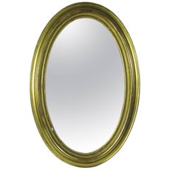 Antique 19th Century Oval Giltwood Wall Mirror