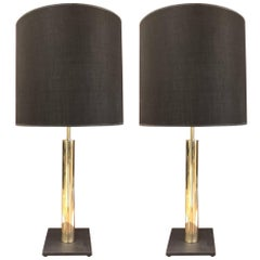 Pair of Polished Brass Cylindrical Lamps on Slate Base