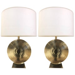 Pair of Hollywood Regency Polished Brass Disc Lamps