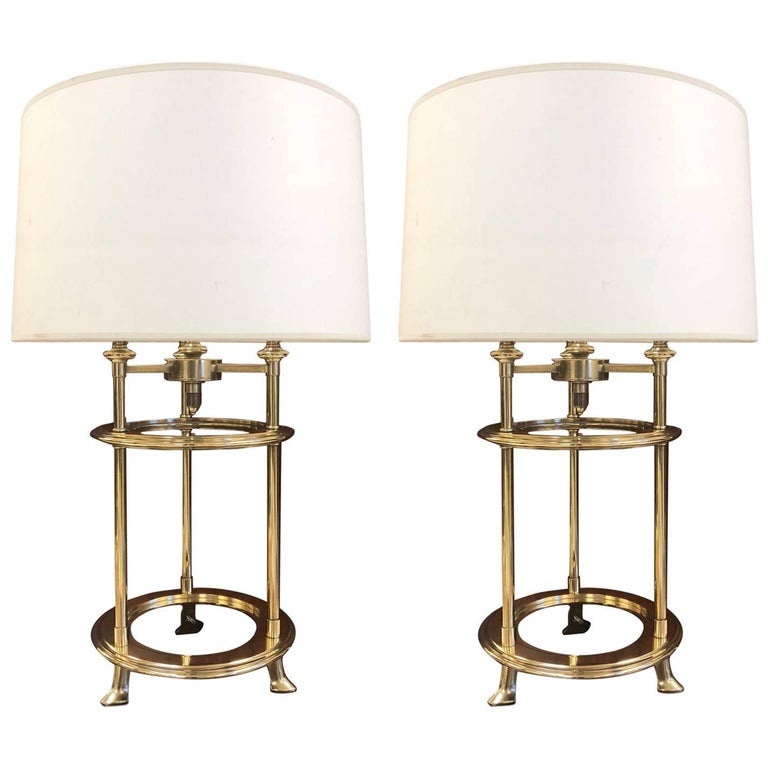 Pair of James Mont Style Polished Brass Lamps