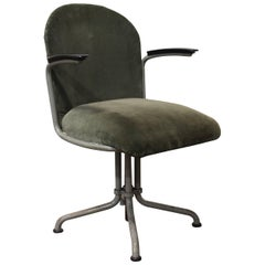 1935, W.H. Gispen by Gispen Culemborg, Office Chair 356, Rare Grey Base