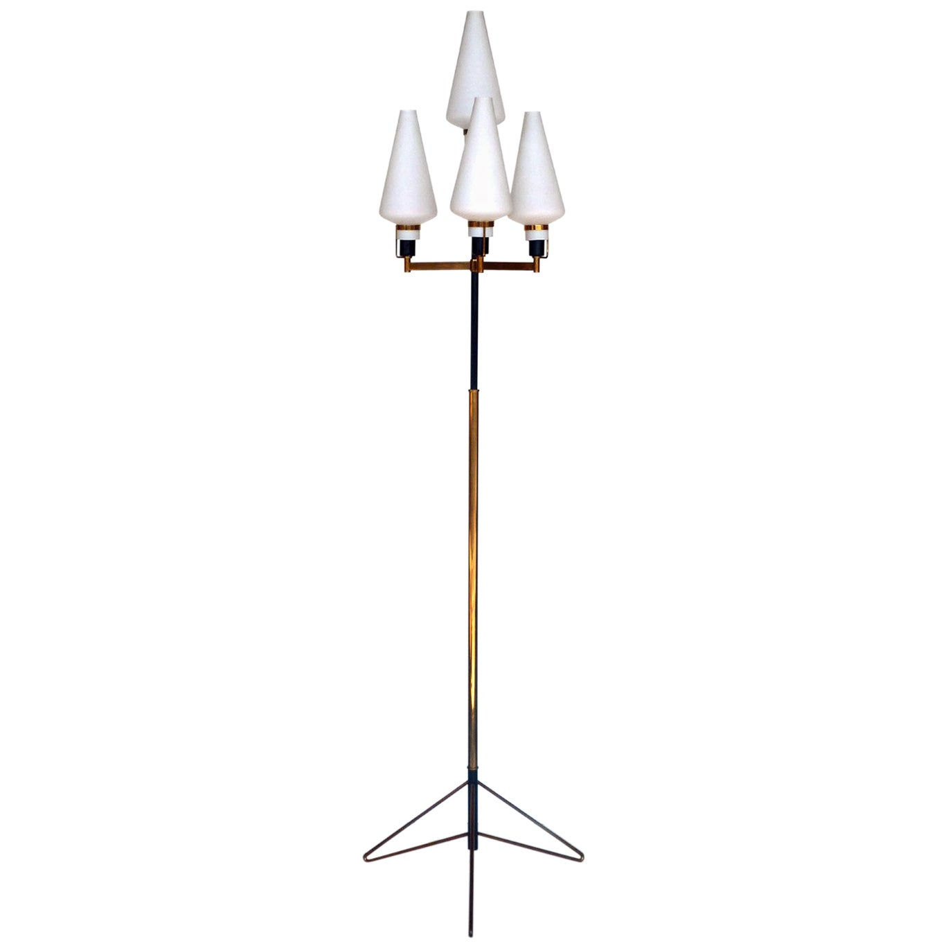 Stilnovo Floor Lamp Italian Design, Midcentury Italy 1950s, Glass and Brass