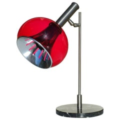 Lamter Table Lamp Italian Design Midcentury Italy 1950s Black Marble Red Perspex
