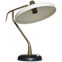 Lumen Table Lamp Italian Design, Midcentury Italy 1950s, Ivory Black Aluminum