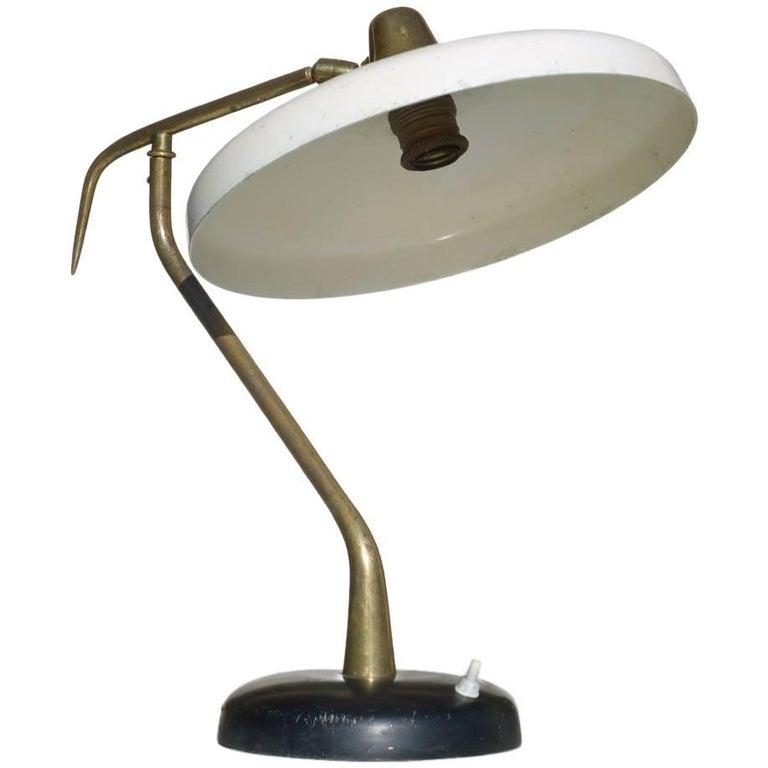 Lumen Table Lamp Italian Design, Midcentury Italy 1950s, Ivory Black Aluminum