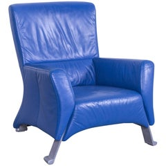 Rolf Benz HSE 322 Designer Armchair Leather Blue One Seat Couch