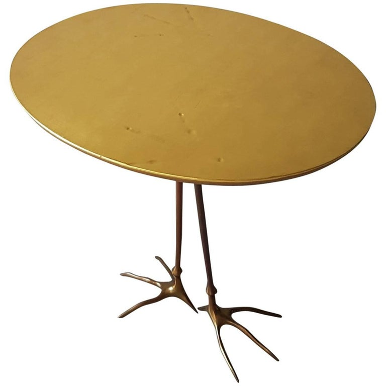 Side Table by Meret Oppenheim Production Simon 1971 in Gold Leaf and Bronze Legs