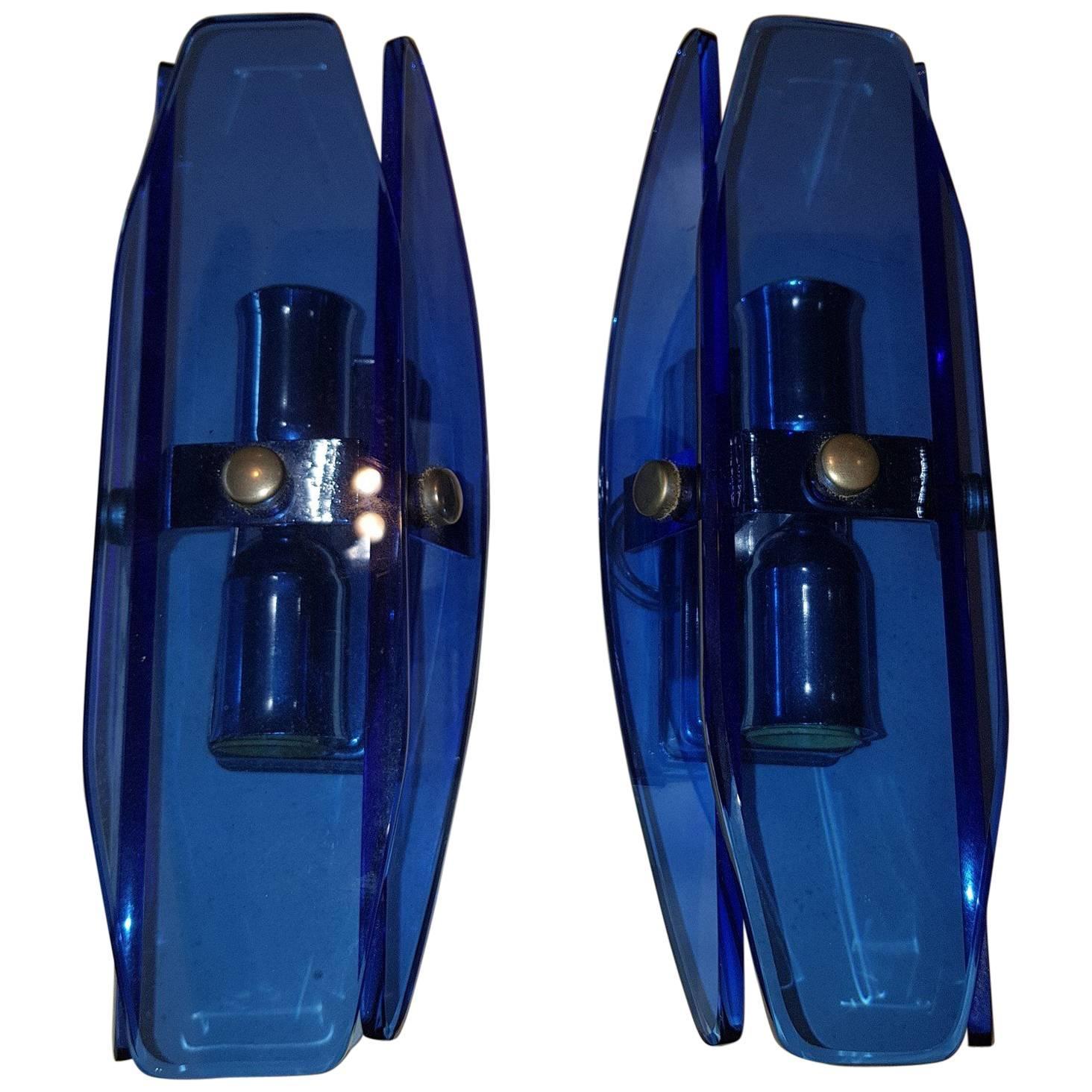 Mid Century Modern, Italian Pair of Blue Glass Wall Lights by Veca