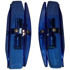 Mid Century Modern, Italian Pair of Blue Glass Wall Lights by Veca