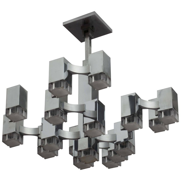 Huge Chandelier Cubic by Sciolari, Italy, 1970s
