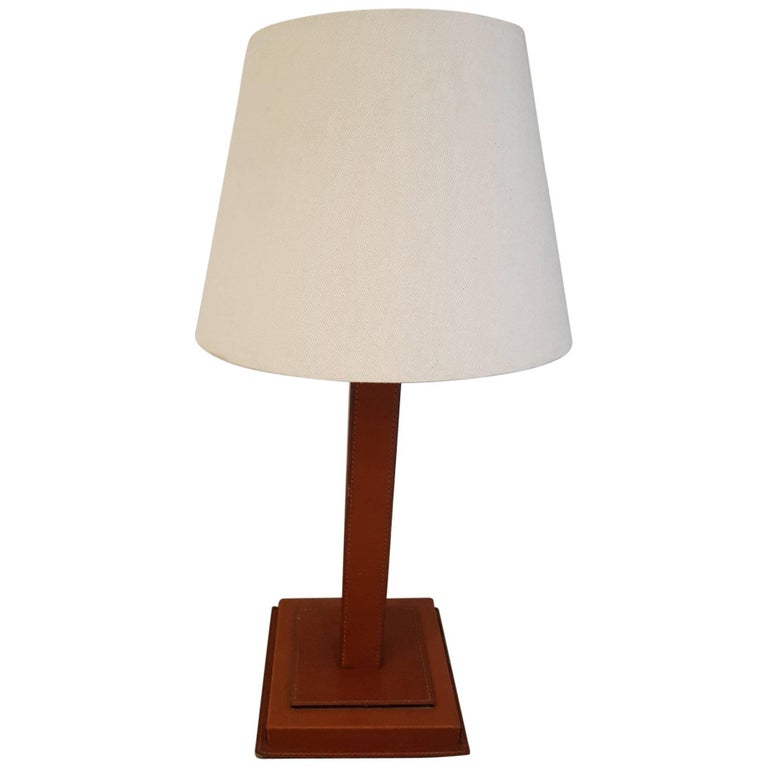 French Tan Leather Table Lamp
