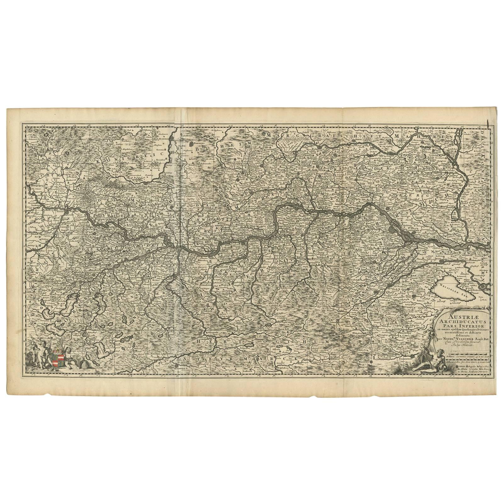 Antique Map of Austria by N. Visscher, circa 1690