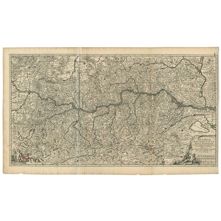 Antique Map of Austria by N. Visscher, circa 1690 For Sale