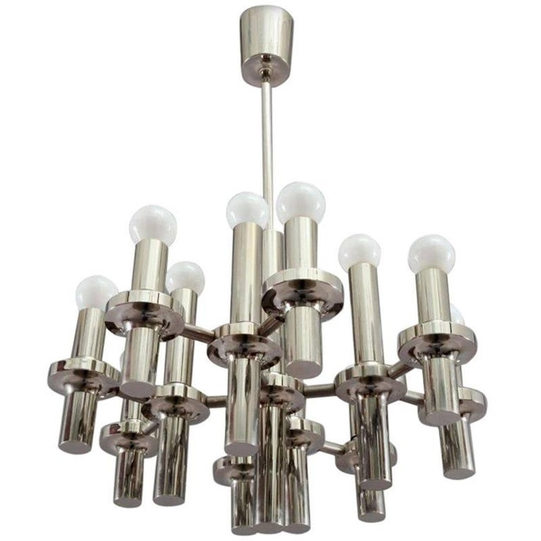 Modernist Gaetano Sciolari Chrome Chandelier, 1970