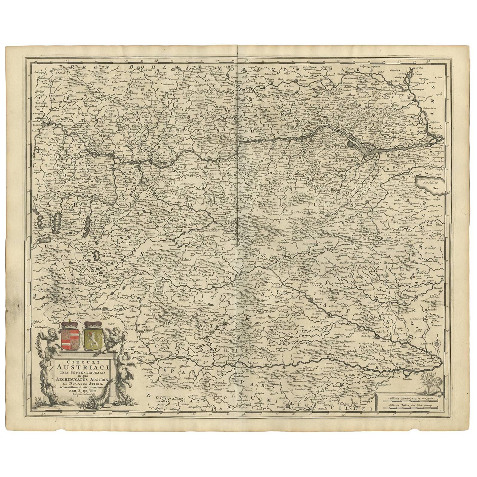 Antique Map of Austria by F. de Wit, 1690