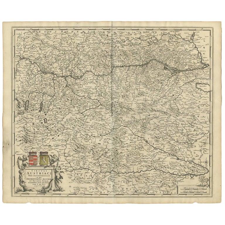 Antique Map of Austria by F. de Wit, 1690 For Sale