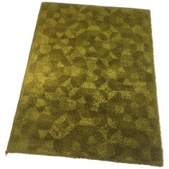 Vintage New Old Stock 1970s High Pile Rug Green Made by Bergoss, Netherlands